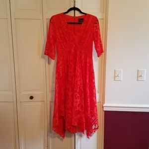 Just Taylor Red Valentine Lace Dress